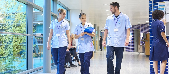 Nurses walking down the corridor